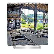 Inside The Old Train Roundhouse At Bayshore Near San Francisco And The Cow Palace Iv Shower Curtain