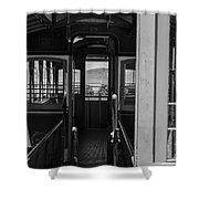 Inside Trolley 28 Black And White Shower Curtain