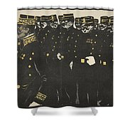 Inspection Of A Line Of Police Shower Curtain
