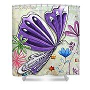 Inspirational Butterfly Flower Art Inspiring Quote Design By Megan Duncanson Shower Curtain