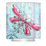 Inspirational Dragonfly Floral Fleur De Lis Art Sweet Charity By Megan Duncanson Shower Curtain