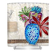 Inspirational Floral Dragonfly Painting Flower Vase With Quote By Megan Duncanson Shower Curtain