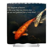 Inspirational - Gathering Fish Of Every Kind - Matthew 13-47 Shower Curtain by Mike Savad