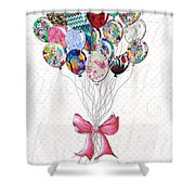 Inspirational Uplifting Floral Balloon Art A Bouquet Of Balloons Just For You By Megan Duncanson Shower Curtain