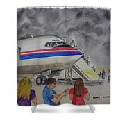 Interam Airlines Flight One Clearwater Florida To Bristol England Shower Curtain