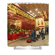 Interior Of Thien Hau Temple A Taoist Temple In Chinatown Of Los Angeles Shower Curtain