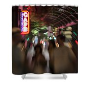 International Cafe Neon Sign And Street Scene At Night Santa Monica Ca Landscape Shower Curtain