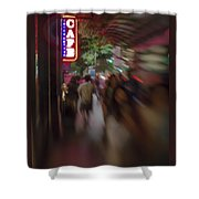 International Cafe Neon Sign And Street Scene At Night Santa Monica Ca Portrait Shower Curtain