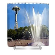 International Fountain And Space Needle Shower Curtain