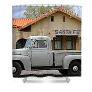 International Harvester L-110 Truck At Santa Fe Train Depot Shower Curtain
