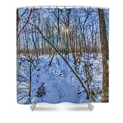 Intersecting Snow Streams Shower Curtain