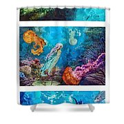 Into Deep Triptic Shower Curtain by Mo T