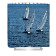 Into The Wind - Crisp White Sails On Blue Shower Curtain