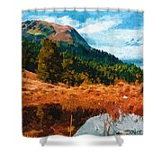 Into The Woods Shower Curtain by Ayse Deniz