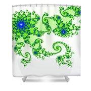 Intricate Green Blue Fractal Based On Julia Set Shower Curtain