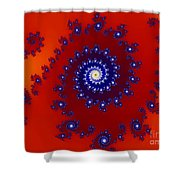 Intricate Red Blue Fractal Based On Julia Set Shower Curtain