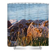 Inverness Beach Rocks  Shower Curtain