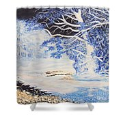 Inverted Lights At Trawscoed Aberystwyth Welsh Landscape Abstract Art Shower Curtain