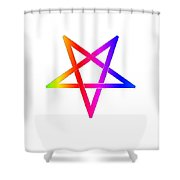 Inverted Rainbow Pentagram Shower Curtain