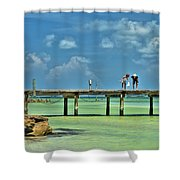 Investigating At Rod And Reel Pier Shower Curtain