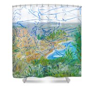 Invisible World Over Landscape Shower Curtain