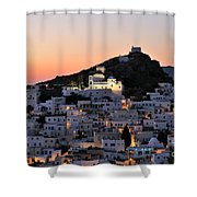 Ios Town During Sunset Shower Curtain