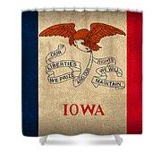 Iowa State Flag Art On Worn Canvas Shower Curtain