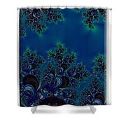 Iphone Case  Midnight Blue Frost Crystals Fractal Shower Curtain