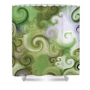 Iphone Green Swirl Abstract Shower Curtain