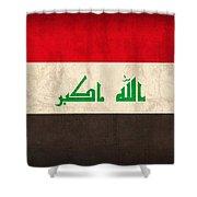 Iraq Flag Vintage Distressed Finish Shower Curtain