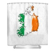 Ireland Painted Flag Map Shower Curtain
