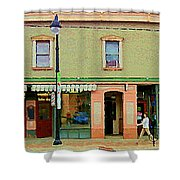 Irenes's Pub And Ernesto's Barber Shop Bank St Shops In The Glebe Paintings Of Ottawa Cspandau  Shower Curtain