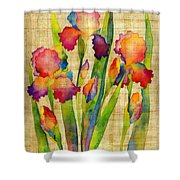 Iris Elegance On Yellow Shower Curtain