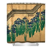 Irises At Yatsuhashi. Eight Bridges Shower Curtain