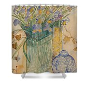 Irises With Chinese Pot Shower Curtain