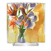 Irises With Stars Of Bethlehem Shower Curtain