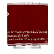Irish Blessing - Full Moon - Greeting  - Red Shower Curtain