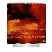Irish Blessing On Orange Clouds And Full Moon Shower Curtain