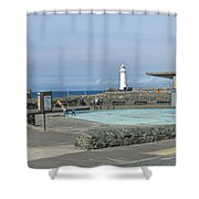 Irish Sea Lighthouse On Pier Shower Curtain