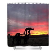 Iron Horse Waiting Shower Curtain