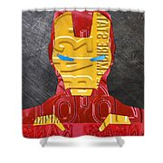 Iron Man Superhero Vintage Recycled License Plate Art Portrait Shower Curtain