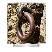 Iron Rings In Stone Shower Curtain by William Selander