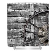 Iron Tractor Wheel Shower Curtain