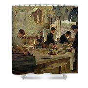 Ironing Workshop In Trouville Shower Curtain by Louis Joseph Anthonissen