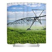 Irrigation Equipment On Farm Field Shower Curtain