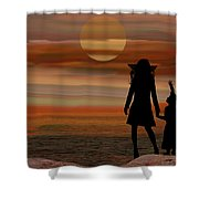 Is Daddy In Heaven Now - Featured In Contours And Silhouettes - Cards For All Occ -nature Wildlife Shower Curtain