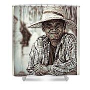 Isaan Rice Farmer Shower Curtain