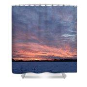 Island Barn Sunset Shower Curtain