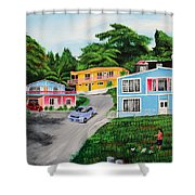 Island Hillside Living Shower Curtain