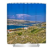 Island Of Pag Aerial Bay View Shower Curtain
